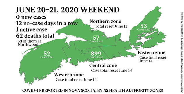 Map of COVID-19 cases in Nova Scotia on the weekend of June 20-21, 2020. - THE COAST