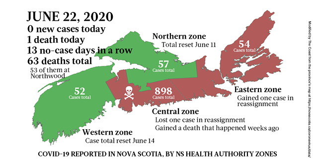 Map of COVID-19 cases in Nova Scotia as of June 22, 2020. - THE COAST