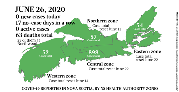 Map of COVID-19 cases in Nova Scotia as of June 26, 2020. - THE COAST