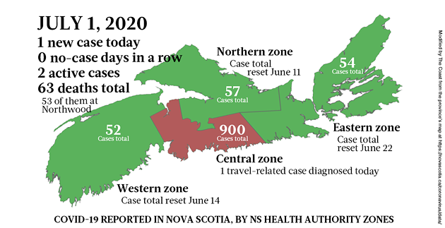 Map of COVID-19 cases in Nova Scotia as of July 1, 2020. - THE COAST