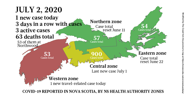 Map of COVID-19 cases in Nova Scotia as of July 2, 2020. - THE COAST