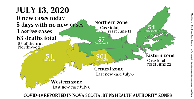Map of COVID-19 cases reported in Nova Scotia as of July 13, 2020. - THE COAST