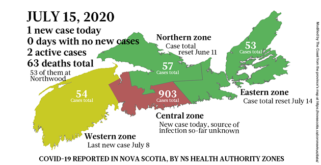 Map of COVID-19 cases reported in Nova Scotia as of July 15, 2020. - THE COAST