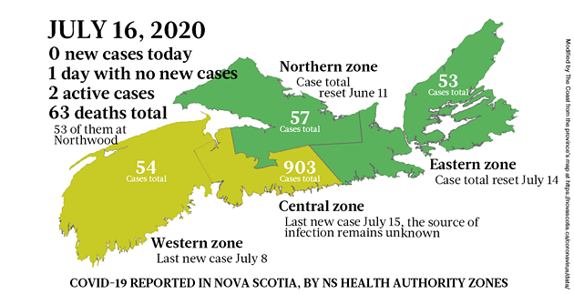 Map of COVID-19 cases reported in Nova Scotia as of July 16, 2020. - THE COAST