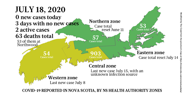 Map of COVID-19 cases reported in Nova Scotia as of July 18, 2020. - THE COAST