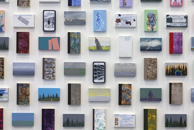 A closer look at Library Cards reveals the mixed media and repeated themes at play. - ADAM MORK