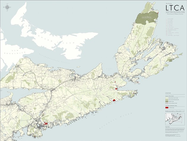 Red shapes on the map show the 13 areas in Nova Scotia where landholders are waiting for their deeds from the government under the Land Titles Clarification Act. - PROVINCE OF NOVA SCOTIA