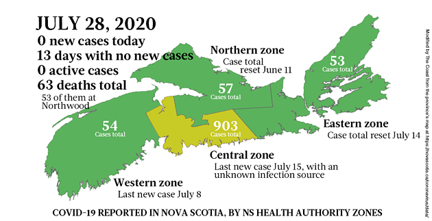 Map of COVID-19 cases reported in Nova Scotia as of July 28, 2020. - THE COAST