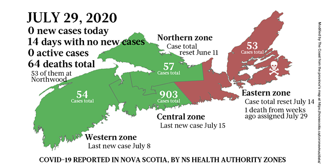 Map of COVID-19 cases reported in Nova Scotia as of July 29, 2020. - THE COAST
