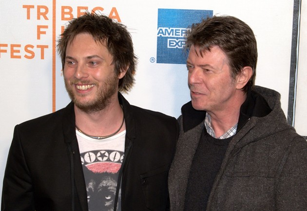 Duncan Jones with his father David Bowie at the 2009 Tribeca Film Festival for the exhibition of Jones's film Moon. - DAVID SHANKBONE