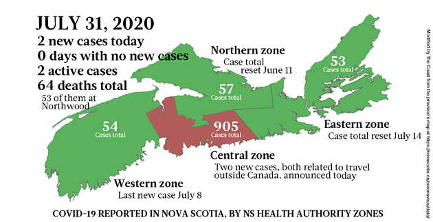 Map of COVID-19 cases reported in Nova Scotia as of July 31, 2020. - THE COAST