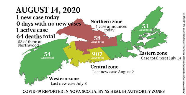 Map of COVID-19 cases reported in Nova Scotia as of August 14, 2020. - THE COAST