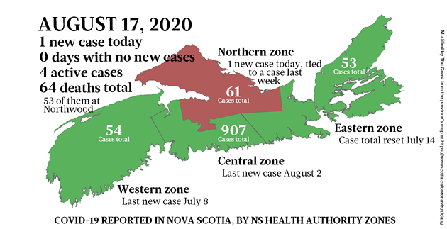 Map of COVID-19 cases reported in Nova Scotia as of August 17, 2020. - THE COAST