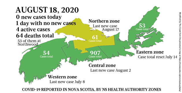 Map of COVID-19 cases reported in Nova Scotia as of August 18, 2020. - THE COAST
