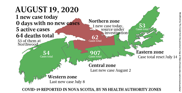 Map of COVID-19 cases reported in Nova Scotia as of August 19, 2020. - THE COAST