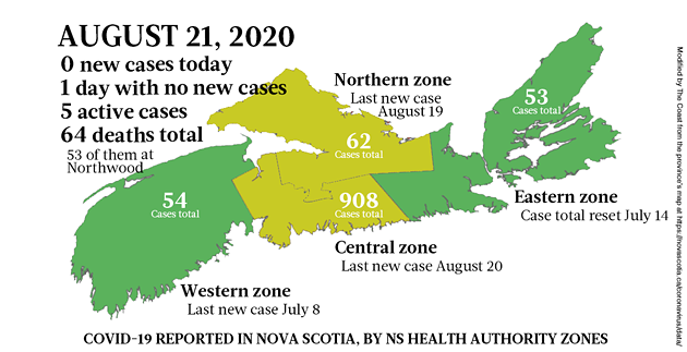 Map of COVID-19 cases reported in Nova Scotia as of August 21, 2020. - THE COAST