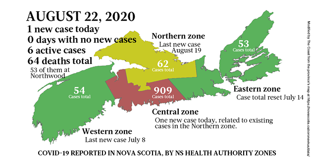 Updated map of COVID-19 cases reported in Nova Scotia as of August 22, 2020. - THE COAST