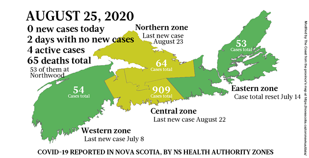 Map of COVID-19 cases reported in Nova Scotia as of August 25, 2020. - THE COAST