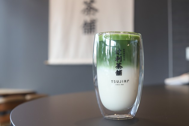 Tsujiri's iced o-matcha latte comes with matcha on top and milk on the bottom and should be stirred before drinking. - VICTORIA WALTON