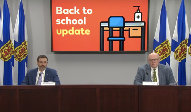 Churchill and Strang fielded questions from reporters about back to school, which is now less than a week away. - NS GOV YOUTUBE