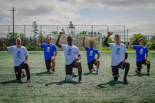 (Left to right) Wanderers head coach Stephen Hart and players Peter Schaale, Ibra Sanoh, Omar Kreim, Jason Beaulieu and Jake Ruby. - HFX WANDERERS FC