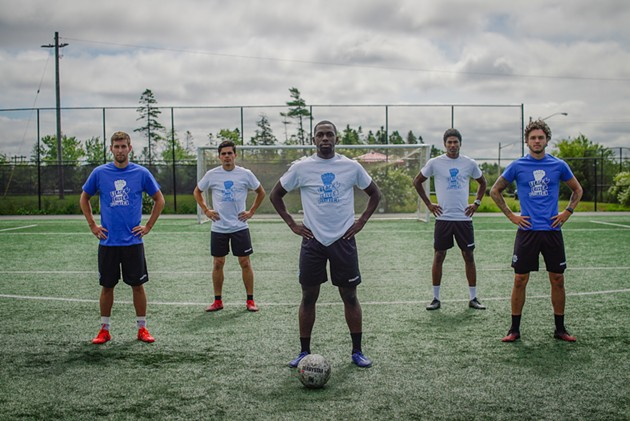 (Left to right) Wanderers players Louis Béland-Goyette, Mateo Restrepo, Chrisnovic N'sa, Andre Rampersad and João Morelli - HFX WANDERERS FC