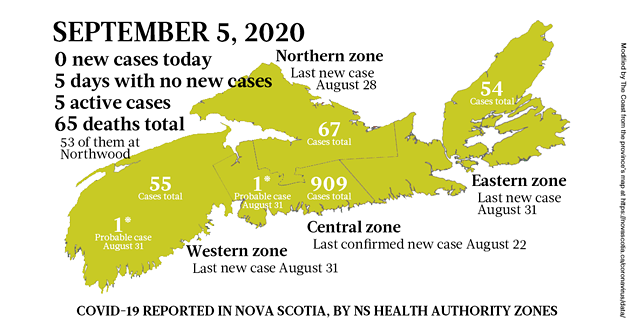 Map of COVID-19 cases reported in Nova Scotia as of September 5, 2020. - THE COAST