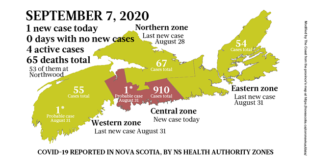 Map of COVID-19 cases reported in Nova Scotia as of September 7, 2020. - THE COAST