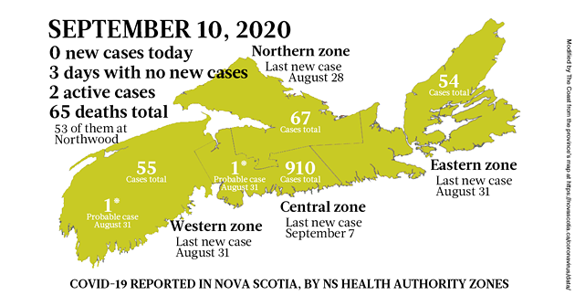 Map of COVID-19 cases reported in Nova Scotia as of September 10, 2020. The yellow-ish colour is for areas with infection(s) in the last two weeks (a C19 incubation cycle); green regions are two-plus weeks clear; red is a case today. - THE COAST