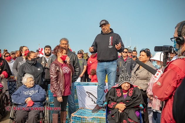 Sipekne'katik Chief Michael Sack and several councillors join in launching the community's moderate livelihood fishery September 17, 2020. - KU'KU'KWES NEWS, STEPHEN BRAKE