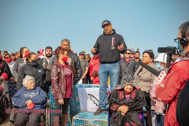 Sipekne'katik Chief Michael Sack and several councillors join in launching the community's moderate livelihood fishery September 17, 2020. - KU'KU'KWES NEWS, STEPHEN BRAKE