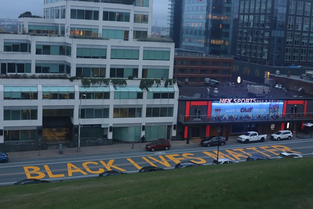 Black Lives Matter was painted along Brunswick Street overnight on September 26, missing the entrance to Halifax Regional Police headquarters by merely a kilometre. - VICTORIA WALTON