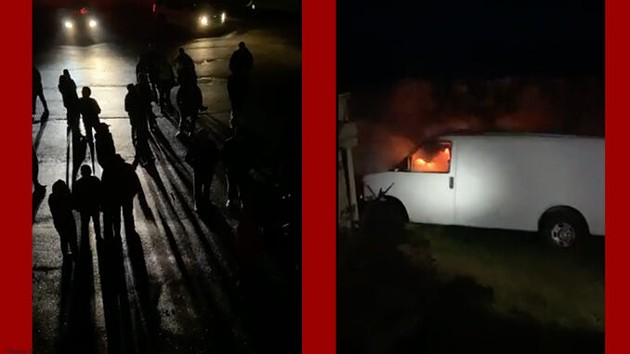 An angry mob of non-Indigenous lobster fishermen trapped two Mi'kmaw fishermen inside a lobster pound in West Pubnico, NS and set a van on fire on Oct. 13. - PHOTOS COURTESY OF JASON MARR