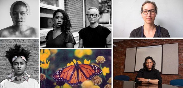 Clockwise from centre: Liliona Quarmyne and Mo Drescher; Marie-Soleil Provençal; Dr. Ingrid Waldron; A still from Mike MacDonald's Tears of a Butterfly; I'thandi Munro; Mo Phùng
