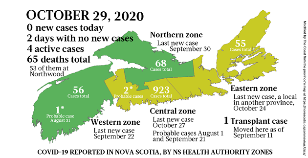 Map of COVID-19 cases reported in Nova Scotia as of October 29, 2020. Legend here. - THE COAST