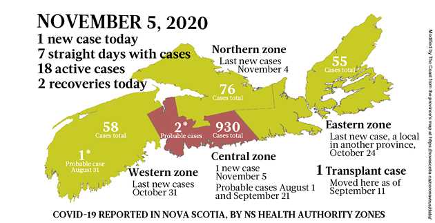 Map of COVID-19 cases reported in Nova Scotia as of November 5, 2020. Legend here. - THE COAST