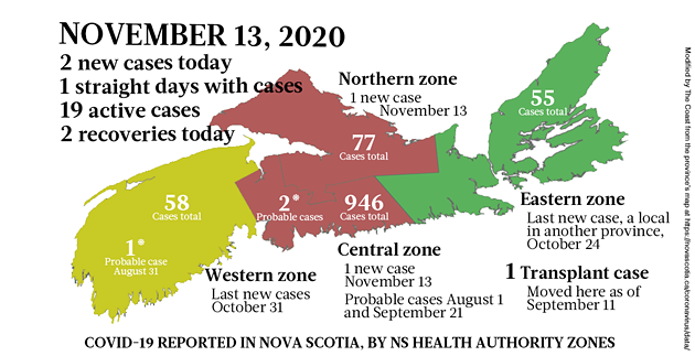 Map of COVID-19 cases reported in Nova Scotia as of November 13, 2020. Legend here. - THE COAST