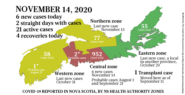 Map of COVID-19 cases reported in Nova Scotia as of November 14, 2020. Legend here. - THE COAST