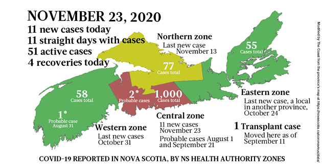 Map of COVID-19 cases reported in Nova Scotia as of November 23, 2020. Legend here. - THE COAST
