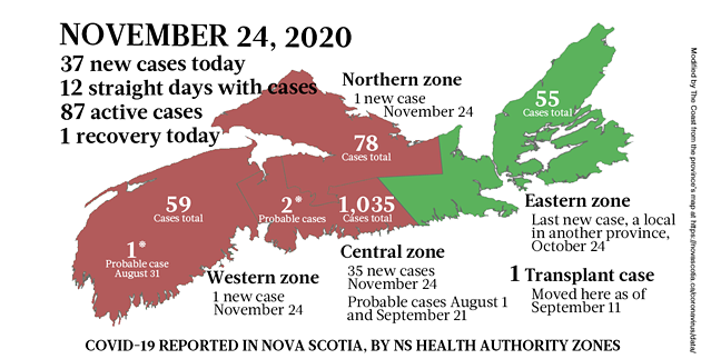 Map of COVID-19 cases reported in Nova Scotia as of November 24, 2020. Legend here. - THE COAST