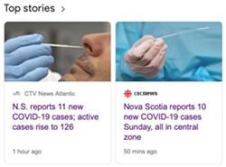 CTV Atlantic and CBC Nova Scotia don't agree on Sunday's case count. - GOOGLE