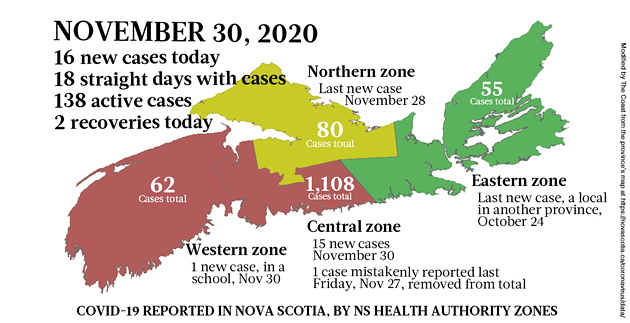 Map of COVID-19 cases reported in Nova Scotia as of November 30, 2020. Legend here. - THE COAST
