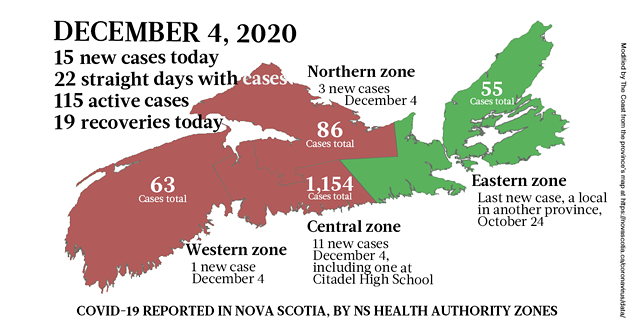 Map of COVID-19 cases reported in Nova Scotia as of December 4, 2020. Legend here. - THE COAST