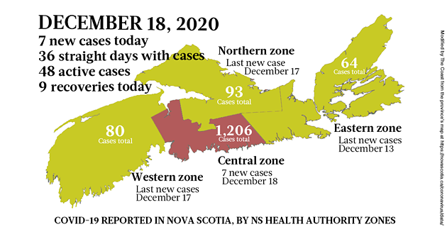 Map of COVID-19 cases reported in Nova Scotia as of December 18, 2020. Legend here. - THE COAST
