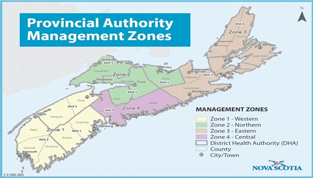 Map of the NS Health Authority's four management zones, with Nova Scotia's 18 counties. - NSHA