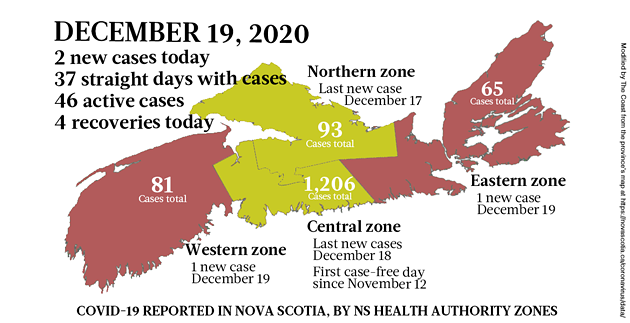 Map of COVID-19 cases reported in Nova Scotia as of December 19, 2020. Legend here. - THE COAST