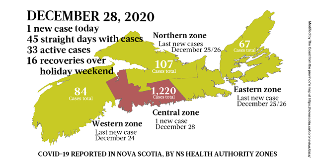 Map of COVID-19 cases reported in Nova Scotia as of December 28, 2020. Legend here. - THE COAST