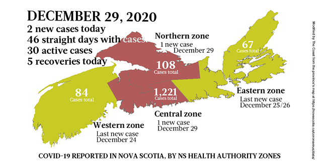 Map of COVID-19 cases reported in Nova Scotia as of December 29, 2020. Legend here. - THE COAST