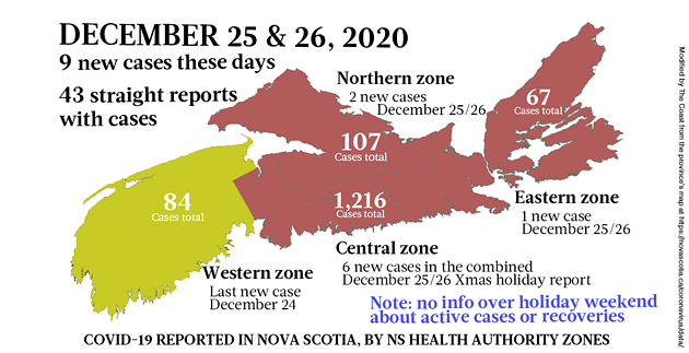 Map of COVID-19 cases reported in Nova Scotia as of December 25/26, 2020. Legend here. - THE COAST