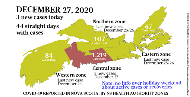 Map of COVID-19 cases reported in Nova Scotia as of December 27, 2020. Legend here. - THE COAST